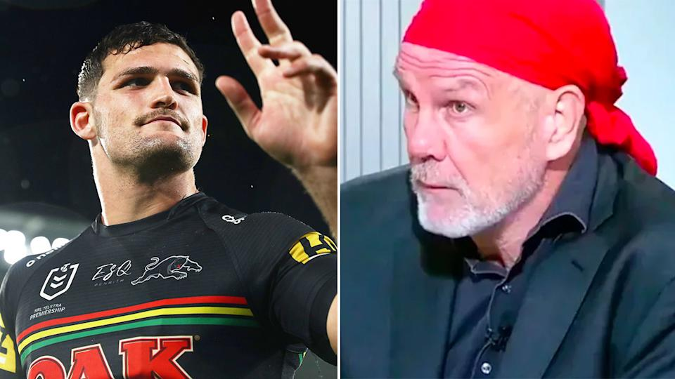 Pictured right, Peter FitzSimons and Panthers halfback Nathan Cleary on the right.