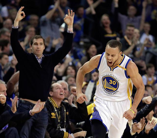"<a class=""link rapid-noclick-resp"" href=""/nba/players/4612/"" data-ylk=""slk:Stephen Curry"">Stephen Curry</a> and the Warriors were fired up and firing on all cylinders against the Cavaliers on Monday. (AP)"