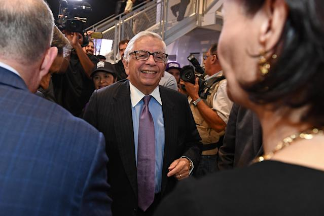 Former NBA Commissioner David Stern poses for a photo before a Spurs-Kings game on Oct. 27, 2016. (Getty)