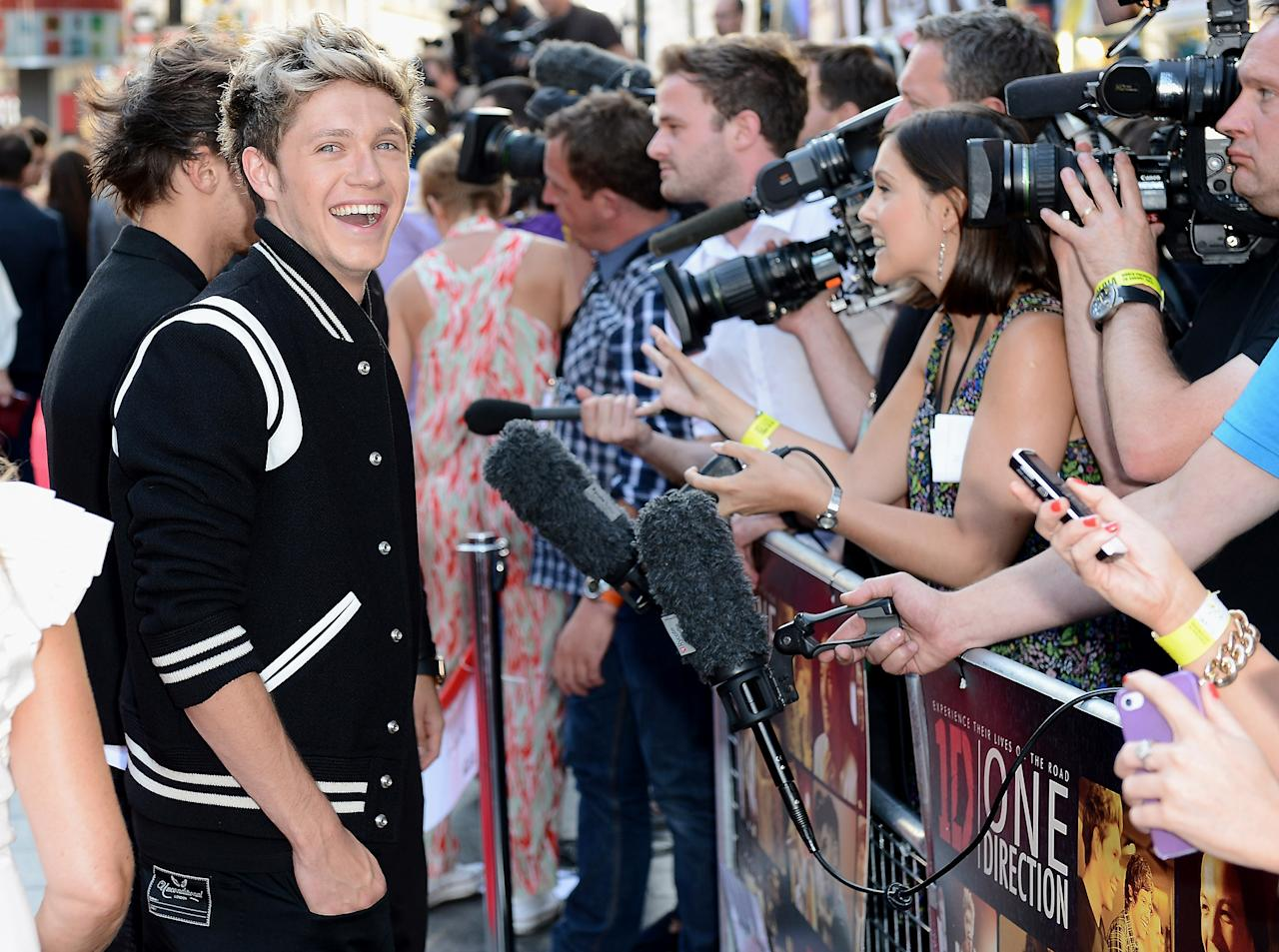 "LONDON, ENGLAND - AUGUST 20:  Singer Niall Horan from One Direction attends the ""One Direction This Is Us"" world premiere at the Empire Leicester Square on August 20, 2013 in London, England.  (Photo by Ian Gavan/Getty Images for Sony Pictures)"