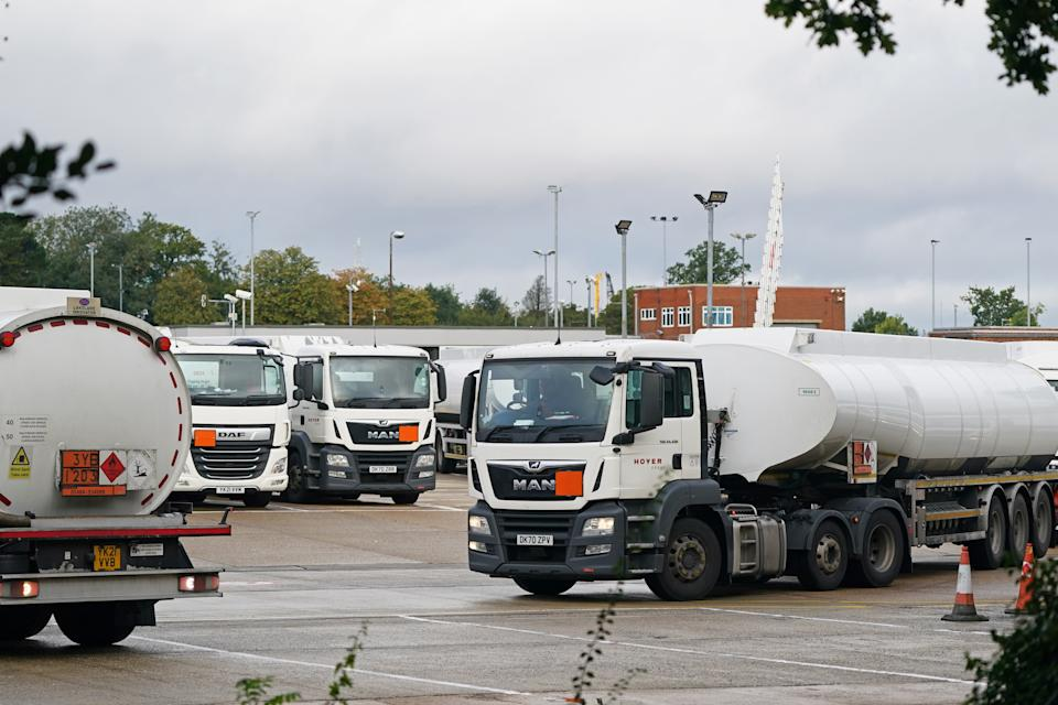 Fuel tankers at Buncefield oil depot, known as the Hertfordshire Oil Storage Terminal, in Hemel Hempstead. Picture date: Monday October 4, 2021. (Photo by Joe Giddens/PA Images via Getty Images)