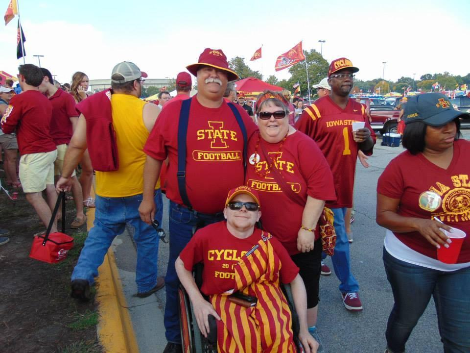 Nick Bassett and his parents Vick and Ann at an Iowa State football game.