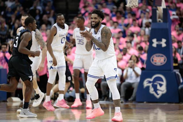 Seton Hall Pirates guard Myles Powell (13) reacts during the second half against the Butler Bulldogs on Wednesday. (Vincent Carchietta-USA TODAY Sports)