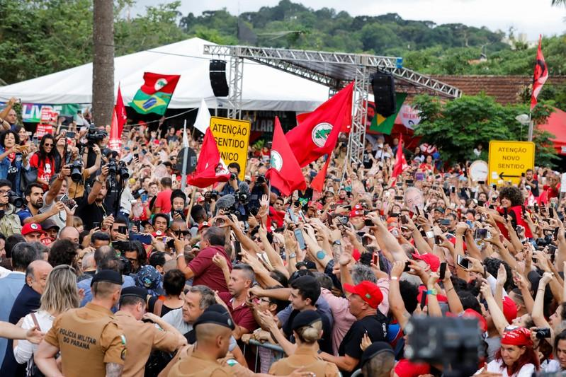 Former Brazilian President Luiz Inacio Lula da Silva is greeted by supporters after being released from prison, in Curitiba