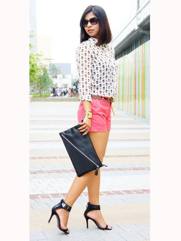 "<p><strong>Image courtesy : iDiva.com</strong></p><p>Smart and sassy, a quirky shirt  and cool shorts outfit get a solid grounding with a pair of balck heels.</p> <p><em>Source:</em><em> <a href=""http://www.stylepile.com/styles/16686-brazilian-food-in-osaka:"" target=""_blank"">Stylepile</a></em></p> <p><strong>Also read</strong> <a href=""http://idiva.com/photogallery-style-beauty/trend-alert-back-packs/24781"" target=""_blank""><strong>Trend Alert: Back Packs</strong></a></p><p><strong>Related Articles - </strong></p><p><a href='http://idiva.com/photogallery-style-beauty/trend-alert-brighten-up-your-wardrobe-with-blues/19670' target='_blank'>Trend Alert: Brighten Up Your Wardrobe with Blues</a></p><p><a href='http://idiva.com/photogallery-style-beauty/trend-alert-how-to-wear-big-bold-stripes/20980' target='_blank'>Trend Alert: How to Wear Big, Bold Stripes</a></p>"