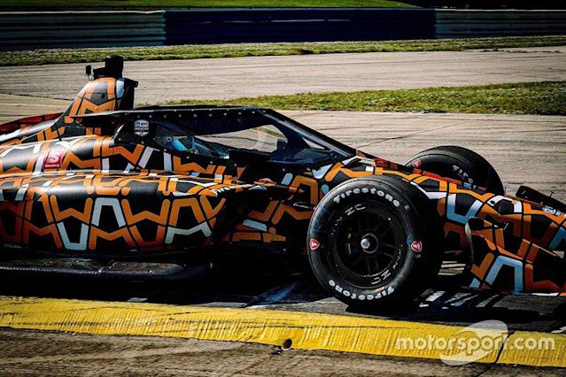 """The aeroscreen has pushed the IndyCar's center of gravity both forward and up, increasing demands on Firestone's front tires. <span class=""""copyright"""">Arrow McLaren SP </span>"""