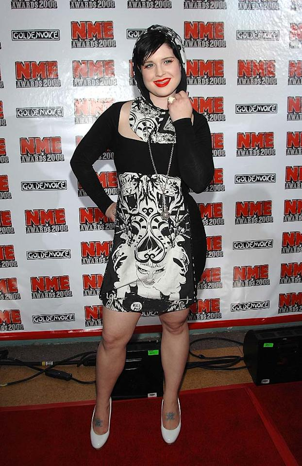 "Kelly Osbourne donned a hooded cocktail dress and bright white pumps at the NME Awards in Los Angeles on Wednesday. This year marked the first U.S. edition of the British music magazine's annual awards show. John Shearer/<a href=""http://www.wireimage.com"" target=""new"">WireImage.com</a> - April 23, 2008"