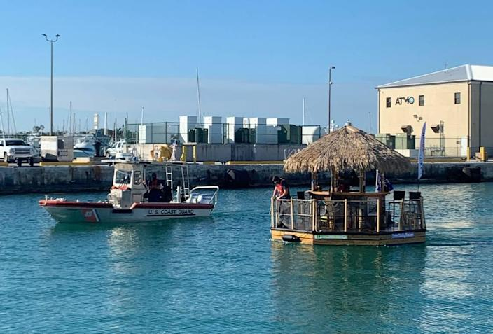 The U.S. Coast Guard found a stolen tiki hut boat off Key West on Jan. 13, 2021. A man was alone on the boat and taken to jail.