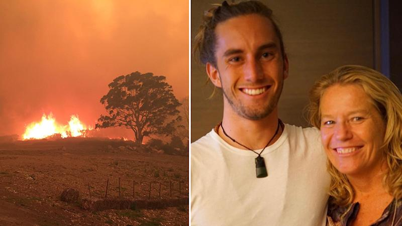 Sandy Betts, pictured with her son, Rory Betts-McCrae, watched as her community became engulfed in flames. Source: Supplied - Sandy Betts.