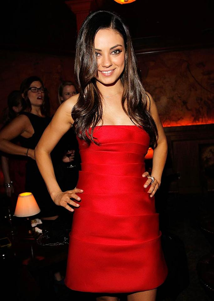 """Black Swan"" star Mila Kunis showed off her svelte figure in a stunning, strapless red mini at Vanity Fair Campaign Hollywood 2011's celebration of Fox Searchlight held at Bar Marmont on Thursday night. Donato Sardella/<a href=""http://www.gettyimages.com/"" target=""new"">GettyImages.com</a> - February 24, 2011"