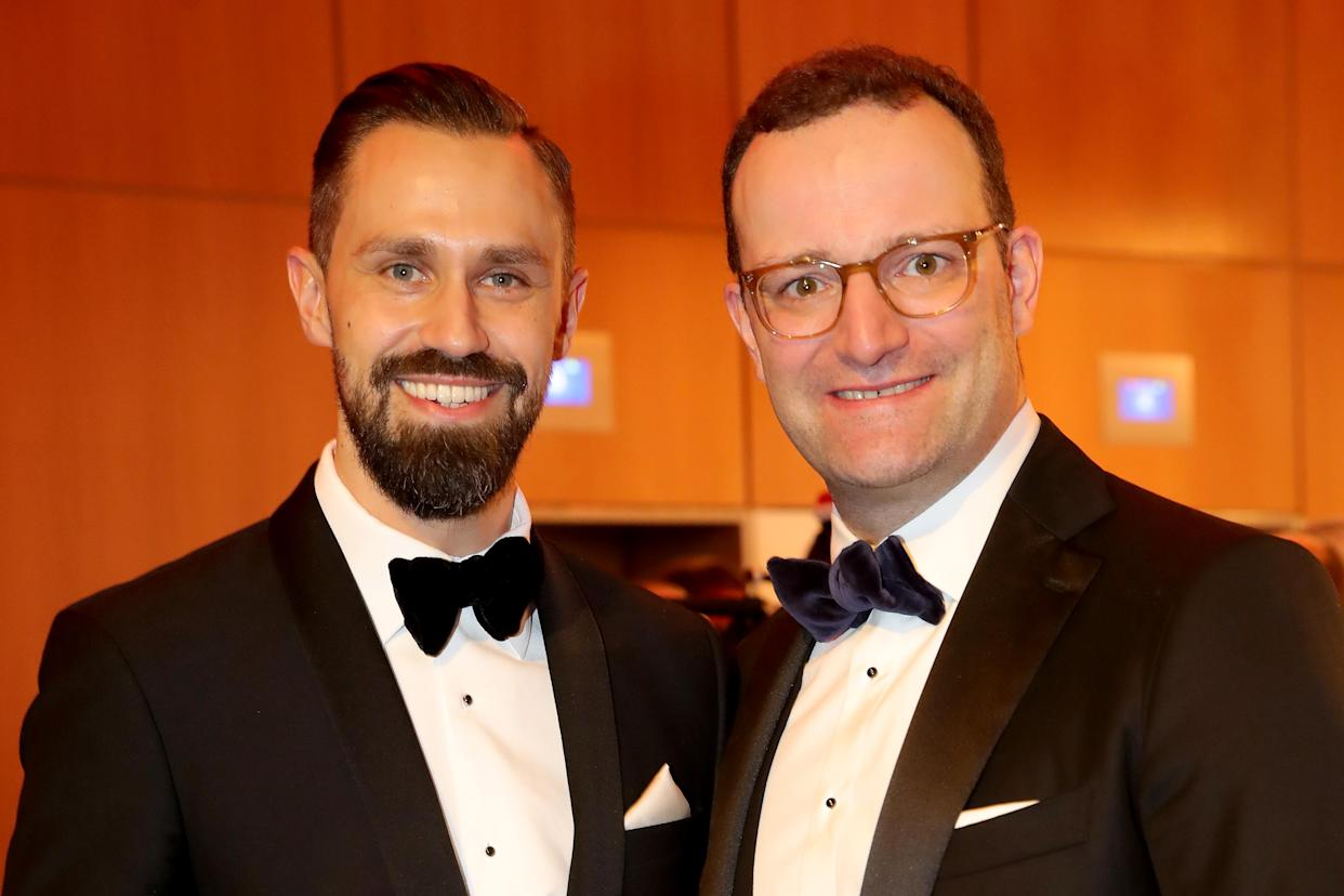 WIESBADEN, GERMANY - FEBRUARY 02: Daniel Funke (L) attends with Jens Spahn the Ball des Sports 2019 at RheinMain-CongressCenter on February 02, 2019 in Wiesbaden, Germany. (Photo by Alexander Hassenstein/Bongarts/Getty Images)