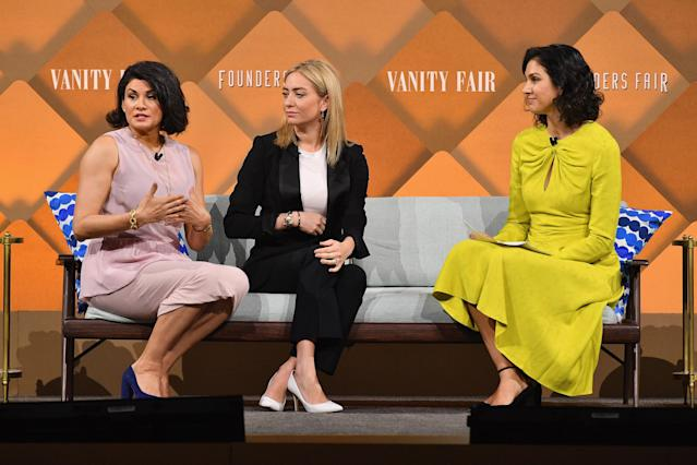 California Baby CEO Jessica Iclisoy speaks with Bumble CEO Whitney Wolfe Herd and Vanity Fair editor-in-chief Radhika Jones onstage during Vanity Fair's Founders Fair at Spring Studios on April 12, 2018 in New York City.