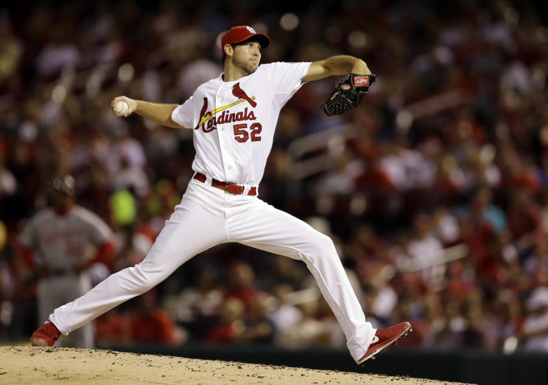 St. Louis Cardinals starting pitcher Michael Wacha throws during the fourth inning of a baseball game against the Washington Nationals on Tuesday, Sept. 24, 2013, in St. Louis. (AP Photo/Jeff Roberson)