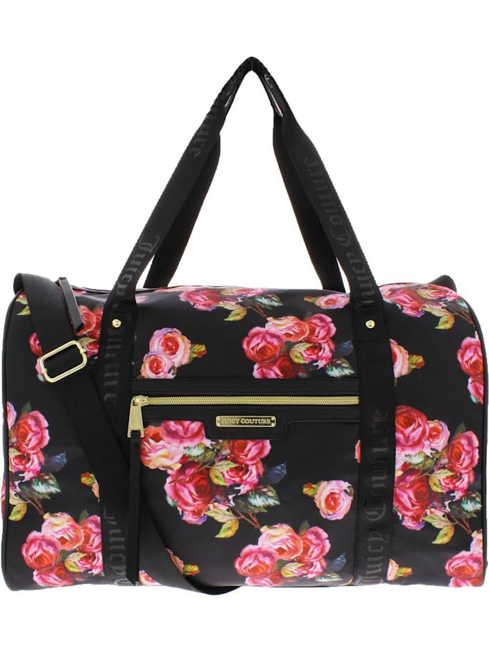 """<p><strong>Juicy Couture</strong></p><p>walmart.com</p><p><strong>$69.99</strong></p><p><a href=""""https://go.redirectingat.com?id=74968X1596630&url=https%3A%2F%2Fwww.walmart.com%2Fip%2F206875330&sref=https%3A%2F%2Fwww.thepioneerwoman.com%2Ffashion-style%2Fg32388887%2Fbest-weekender-bags%2F"""" rel=""""nofollow noopener"""" target=""""_blank"""" data-ylk=""""slk:Shop Now"""" class=""""link rapid-noclick-resp"""">Shop Now</a></p><p>The pretty pink roses on this 16"""" x 13.5"""" overnight bag are reminiscent of the beautiful centerpieces at Ree's daughter <a href=""""https://www.thepioneerwoman.com/ree-drummond-life/a36320798/alex-drummond-mauricio-scott-wedding-flowers-details/"""" rel=""""nofollow noopener"""" target=""""_blank"""" data-ylk=""""slk:Alex's wedding"""" class=""""link rapid-noclick-resp"""">Alex's wedding</a>! The satiny fabric keeps liquids and stains at bay. </p>"""