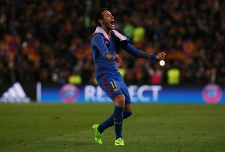 Barcelona's Neymar celebrates after the game