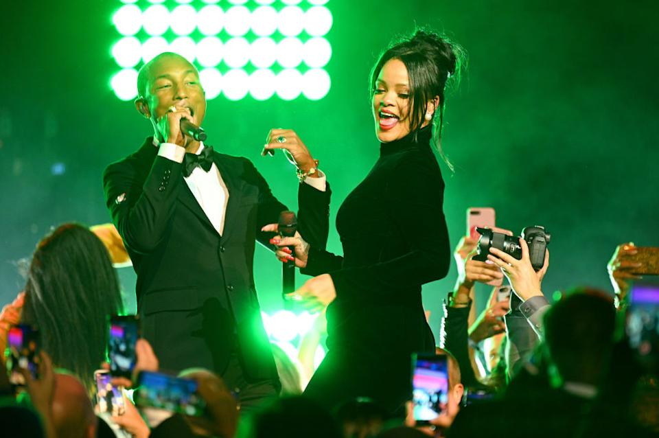 Pharrell Williams and Rihanna perform on stage during Rihanna's 5th Annual Diamond Ball Benefitting The Clara Lionel Foundation at Cipriani Wall Street on September 12, 2019 in New York City. | Dave Kotinsky—Getty Images for Diamond Ball