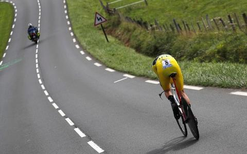 <span>Geraint Thomas competes in the final time trial during last year's Tour de France</span> <span>Credit: AP </span>