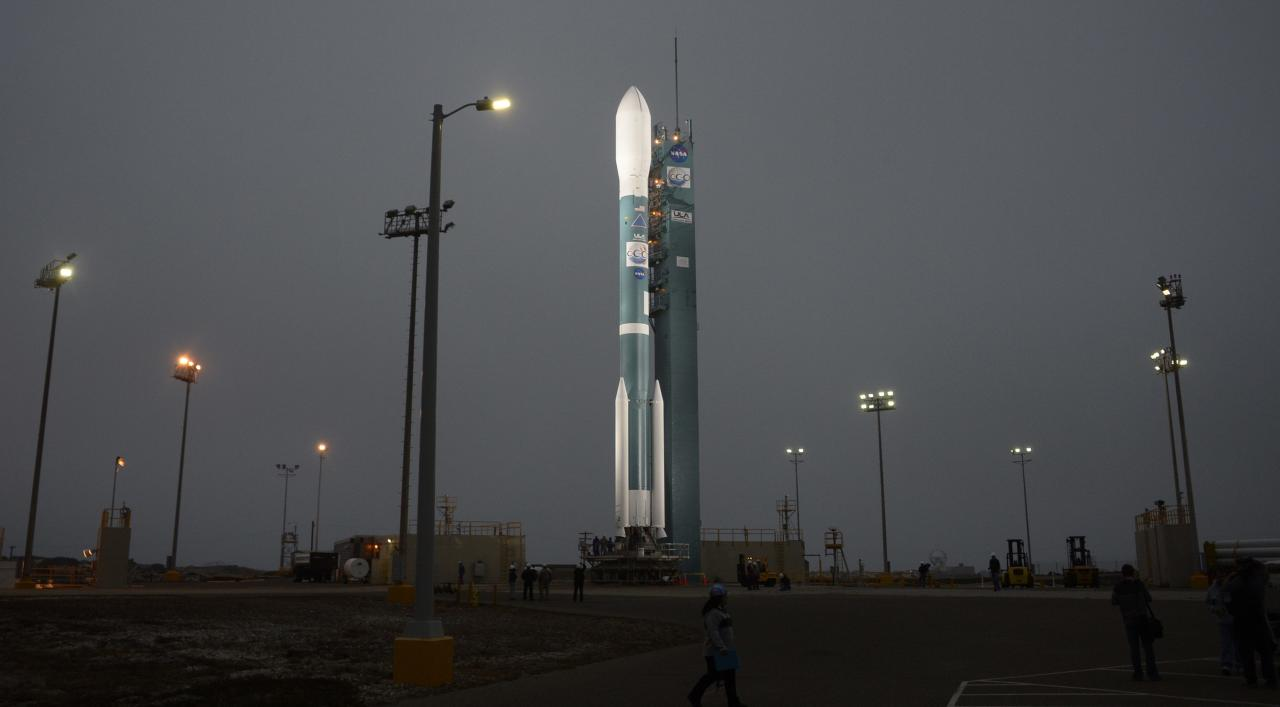 The NASA's Orbiting Carbon Observatory-2 (OCO-2) mission is seen sitting on its launch pad at Vandenberg Air Force Base in California June 30, 2014. The launch of the unmanned Delta 2 rocket from Vandenberg Air Force Base in California was called off less than a minute before lift-off on July 1 when the pad's water system failed, a live NASA Television broadcast showed. The rocket, built and flown by United Launch Alliance, a partnership of Lockheed Martin Corp and Boeing, was tentatively rescheduled to launch on Wednesday, but engineers first have to track down the cause of the water system problem, said NASA launch commentator George Diller. Picture taken June 30. REUTERS/Gene Blevins (UNITED STATES - Tags: SCIENCE TECHNOLOGY)