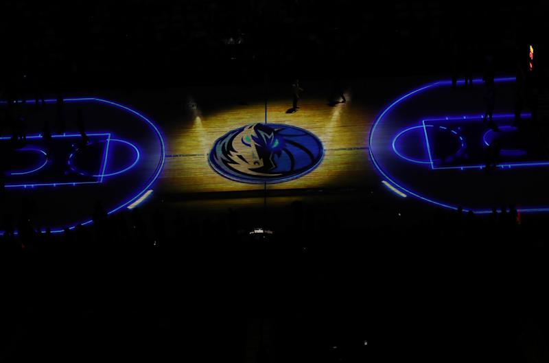 Mavericks logo at half court.