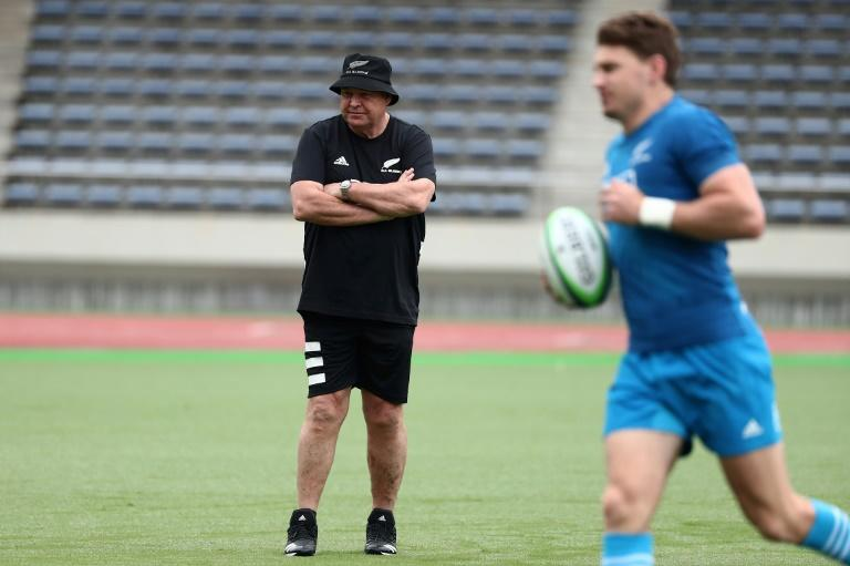 All Blacks coach Steve Hansen oversees a training session in Japan ahead of their opening match against South Africa on Saturday