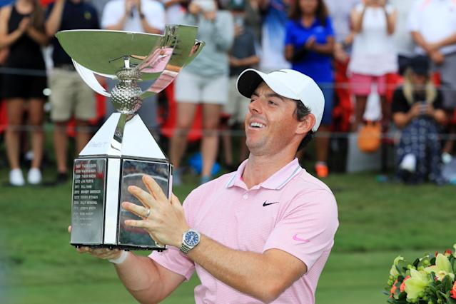 """<a class=""""link rapid-noclick-resp"""" href=""""/pga/players/8016/"""" data-ylk=""""slk:Rory McIlroy"""">Rory McIlroy</a> surged ahead on Sunday to claim his second Tour Championship and FedExCup title — and take home a $15 million prize. (Streeter Lecka/Getty Images)"""