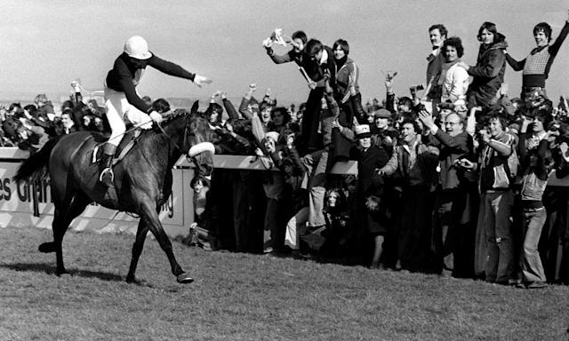 """<span class=""""element-image__caption"""">Red Rum delights the crowd by winning the Grand National for a record third time in April 1977.</span> <span class=""""element-image__credit"""">Photograph: PA</span>"""