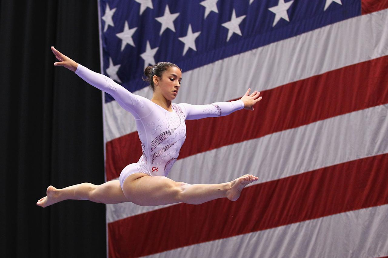 ST. LOUIS, MO - JUNE 10: Alexandra Raisman competes on the beam during the Senior Women's competition on day four of the Visa Championships at Chaifetz Arena on June 10, 2012 in St. Louis, Missouri.  (Photo by Dilip Vishwanat/Getty Images)