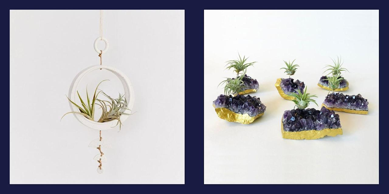 """<p>There's a reason why air plants—also known as Tillandsia—are one of the most popular <a href=""""https://www.elledecor.com/life-culture/fun-at-home/news/g3284/best-indoor-plants-for-apartments/"""">indoor plant</a> species. For one, there are nearly 500 different varieties of this flowering perennial, boasting a range of exotic shapes and vibrant colors. They're also durable, adaptable, and require no soil to grow (you heard that right), making them the perfect option for the low-maintenance plant-lover. Air plants sustain themselves on moisture from the air, and naturally grow off of tree branches, rocks, or other plants. So if watering that succulent every two weeks proved to be a bit too ambitious, the air plant is for you.</p><p>Because of the air plant's minimal root system, you can display them in a wonderful assortment of holders, from traditional pots to macrame hangers. Scroll below for 14 of our favorite ways to display the almighty air plant.</p>"""