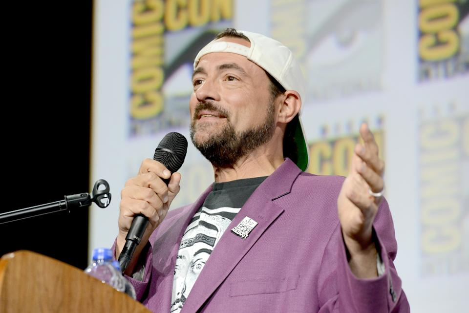 SAN DIEGO, CALIFORNIA - JULY 20: Kevin Smith speaks at the Kevin Smith Reboots Hall H! Panel during 2019 Comic-Con International at San Diego Convention Center on July 20, 2019 in San Diego, California. (Photo by Albert L. Ortega/Getty Images)