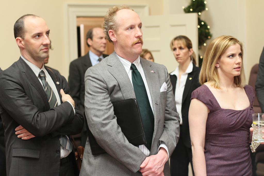 "Tony Hale as Gary Walsh, Matt Walsh as Mike Mclintock, and Anna Chlumsky as Amy Brookheimer in ""Veep."""