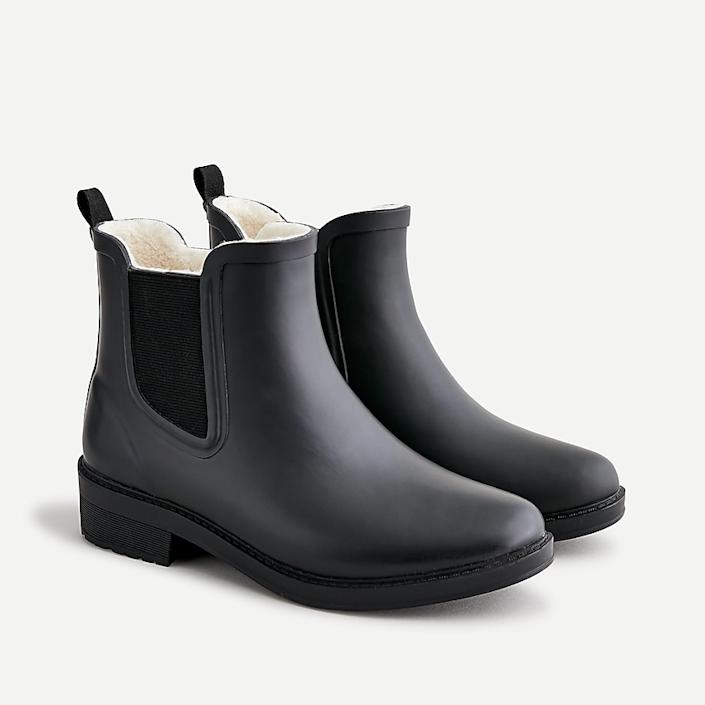 j.crew: shearling-lined chelsea rain boots for women, right side, view zoomed
