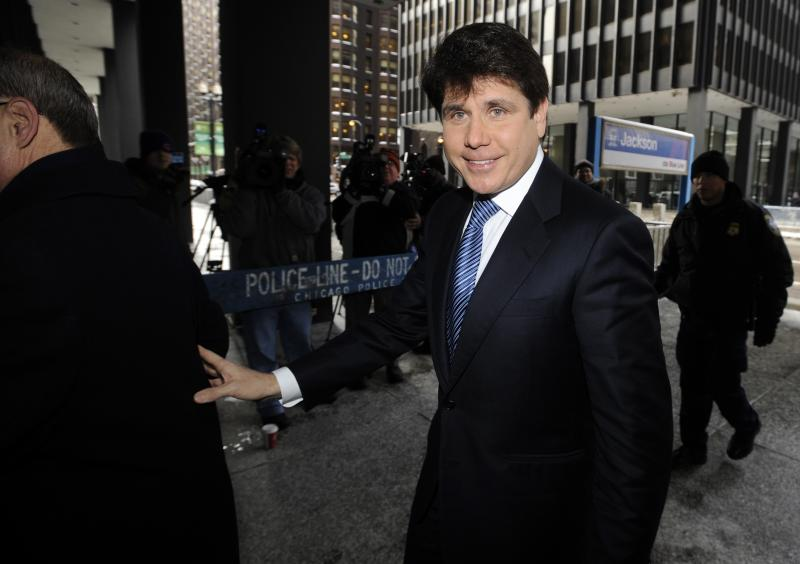 FILE- In this Feb. 10, 2010, file photo, former Illinois Gov. Rod Blagojevich arrives at the Federal Court building in Chicago. Blagojevich was formally indicted on corruption charges, including allegations that he tried to sell or trade President Barack Obama's old Senate seat. (AP Photo/Paul Beaty, File)