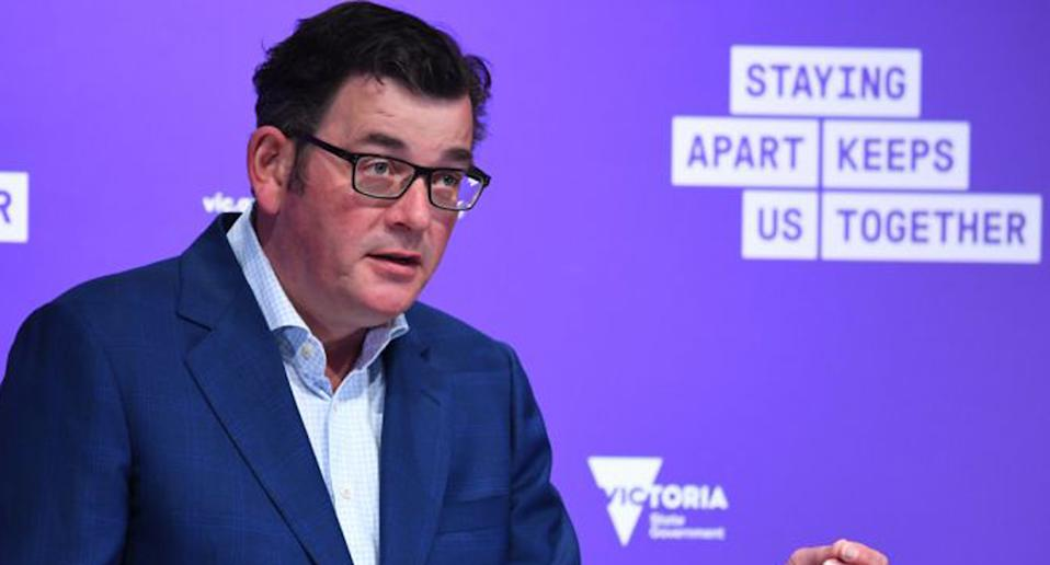 Pictured is Daniel Andrews during a daily coronavirus press conference.