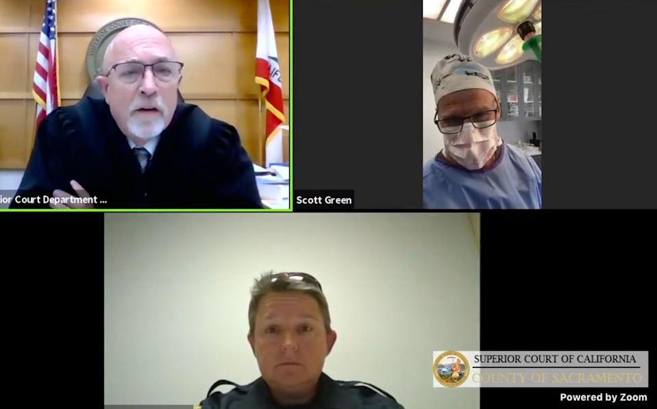 <p>Californian doctor calls into virtual courtroom for traffic trial while performing surgery</p> (Sacramento Superior Court)