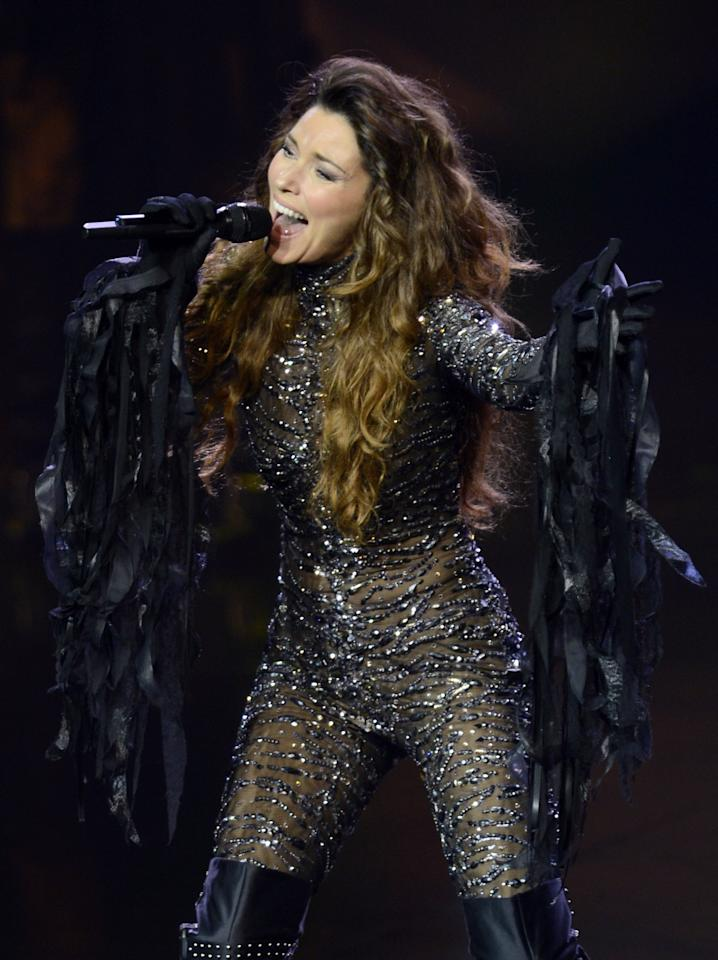 "LAS VEGAS, NV - DECEMBER 01:  Singer Shania Twain performs during the debut of her residency show ""Shania: Still the One"" at The Colosseum at Caesars Palace on December 1, 2012 in Las Vegas, Nevada.  (Photo by Jeff Bottari/Getty Images)"