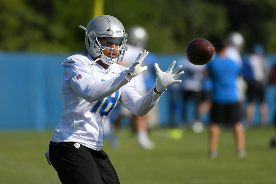 ALLEN PARK, MI - AUGUST 1: Detroit Lions WR (18) Jermaine Kearse during NFL football practice on August 1, 2019 at Detroit Lions Training Facilities in Allen Park, MI (Photo by Allan Dranberg/Icon Sportswire via Getty Images)