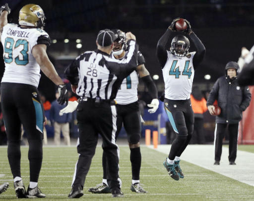 FILE - In this Jan. 21, 2018, file photo, Jacksonville Jaguars linebacker Myles Jack (44) reacts after recovering a fumble during the second half of the AFC championship NFL football game against the New England Patriots, in Foxborough, Mass. Just eight months ago, the Jaguars played in their team's final game of the 2017 season, the closest the small-market franchise has ever been to the Super Bowl. (AP Photo/David J. Phillip, File)