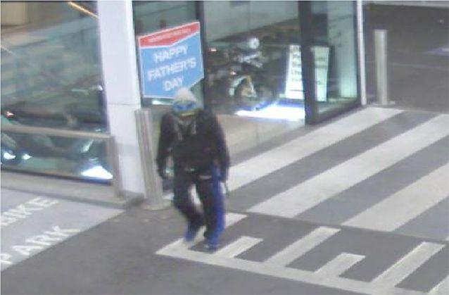 Police are searching for a bandit dressed as Teenage Mutant Ninja Turtle Leonardo, who stole the motorbike from a car dealership in Doncaster earlier in September. Photo: Victoria Police