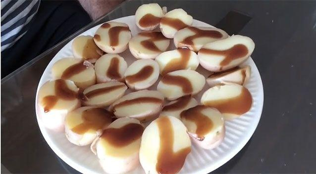 Breakfast on day 2 consisted of potatoes covered in barbeque sauce. Source:
