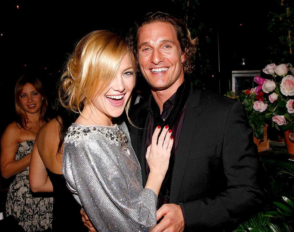 """Buddies Kate Hudson and Matthew McConaughey share a laugh at the star-studded event. The actors became friends back in 2002 while shooting the romantic comedy """"How to Lose a Guy in 10 Days."""" Jemal Countess/<a href=""""http://www.wireimage.com"""" target=""""new"""">WireImage.com</a> - December 4, 2007"""