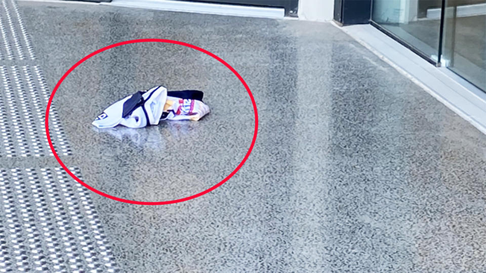 A Brisbane Broncos jersey, pictured here on the ground at club headquarters.