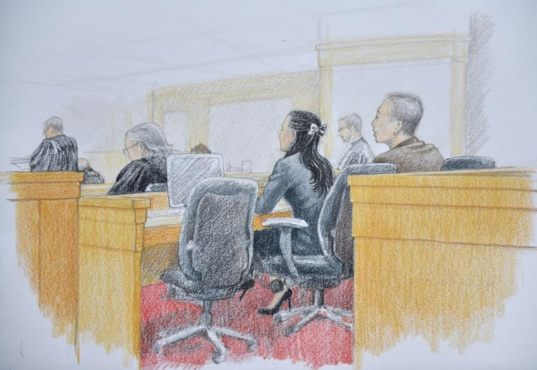 This courtroom sketch by Jane Wolsak and released to AFP by the artist, shows Huawei chief financial officer Meng Wanzhou seen attending her extradition hearing in British Columbia Supreme Court in Vancouver, British Columbia on January 21, 2020. The Chinese telecommunications executive whose arrest in Vancouver badly strained Canada-China relations went to court to fight extradition to the United States. Meng Wanzhou, the chief financial officer of tech giant Huawei and eldest daughter of its founder Ren Zhengfei, is wanted by US authorities for alleged fraud