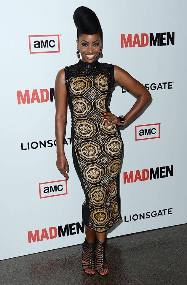 "Teyonah Parris arrives at the Premiere of AMC's ""Mad Men"" Season 6 at DGA Theater on March 20, 2013 in Los Angeles, California."