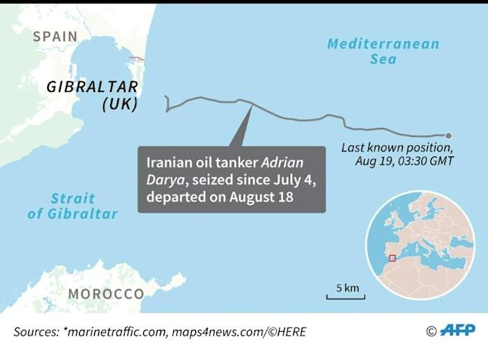 Map locating the last known position of Iranian oil tanker Adrian Darya, formerly Grace 1, which was seized off Gibraltar on July 4 and left on August 18. (AFP Photo/)