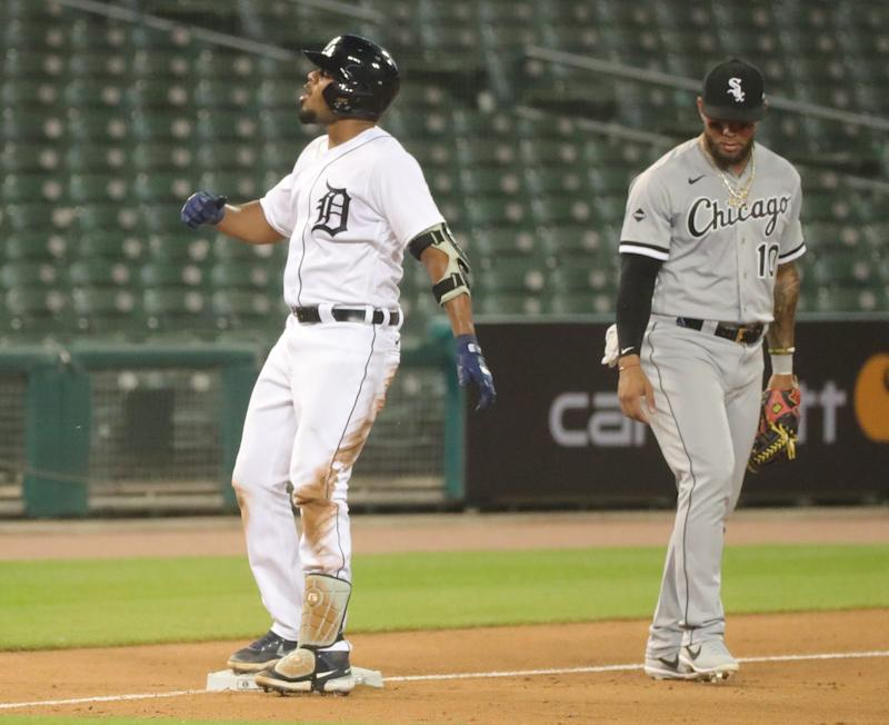 Detroit Tigers' Jeimer Candelario reacts after his triple against the Chicago White Sox during seventh inning at Comerica Park, Monday, August 10, 2020.