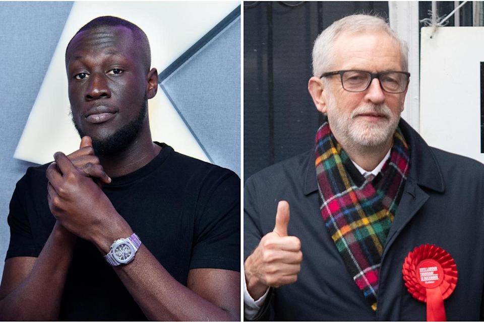 Stormzy has urged his followers to vote for Corbyn: Getty/PA