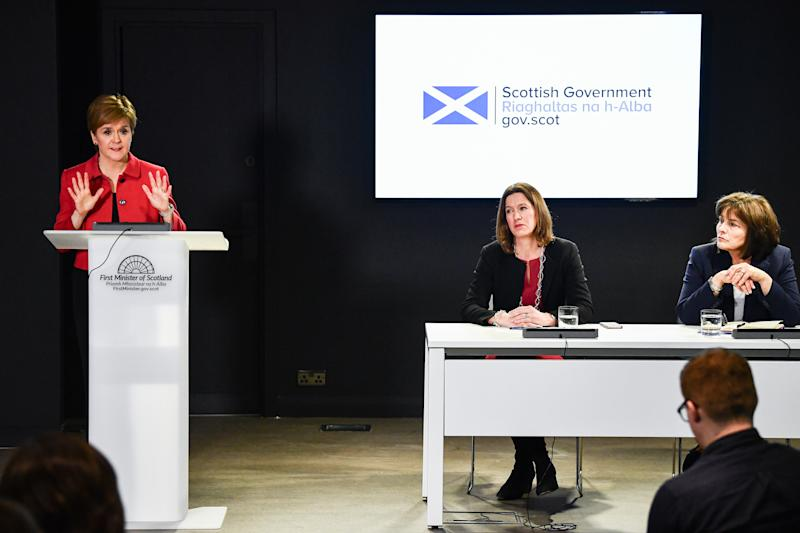 EDINBURGH, SCOTLAND - MARCH 02: The First Minister Nicola Sturgeon, Chief Medical Officer Dr Catherine Calderwood and Health Secretary Jeane Freeman, hold a Coronavirus briefing at St Andrews House on March 2, 2020 in Edinburgh,Scotland. The briefing followed the First Minister taking part in the UK Government's COBRA meeting, along with the first case of coronavirus being confirmed in Scotland after a patient was diagnosed having recently travelled from Italy. (Photo by Jeff J Mitchell/Getty Images)
