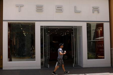 A Tesla store is shown at the shopping mall in San Diego