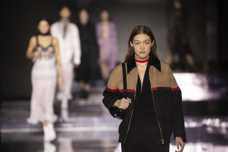 Model Gigi Hadid wears a creation by designer Burberry at the Autumn/Winter 2020 fashion week runway show in London, Monday, Feb. 17, 2020. (Photo by Vianney Le Caer/Invision/AP)
