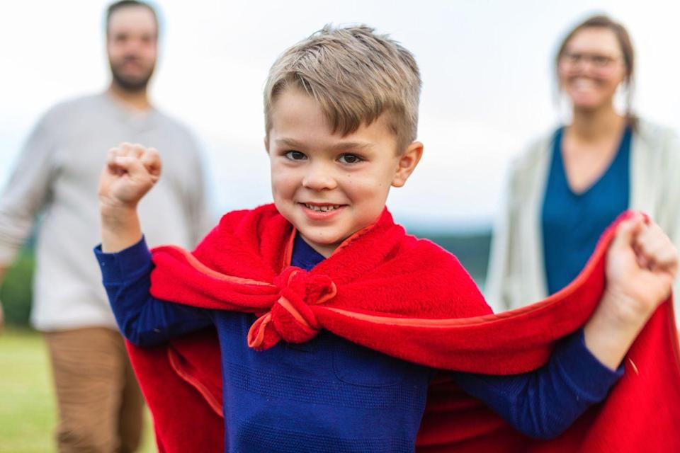 """<p>Roberta Golinkoff PhD, professor/author of <em>Becoming Brilliant: What Science Tells us About Raising Successful Children</em>, recommends tying """"a towel around your kids neck and tell them they are a superhero and can help with anything you are doing in the house!"""" What better way to put your superpowers to work than by making your child feel like a superhero too? Certainly, it's the best way to do that while getting some <a href=""""https://www.redbookmag.com/home/advice/g924/household-chores-list/"""" rel=""""nofollow noopener"""" target=""""_blank"""" data-ylk=""""slk:chores"""" class=""""link rapid-noclick-resp"""">chores</a> done.</p>"""